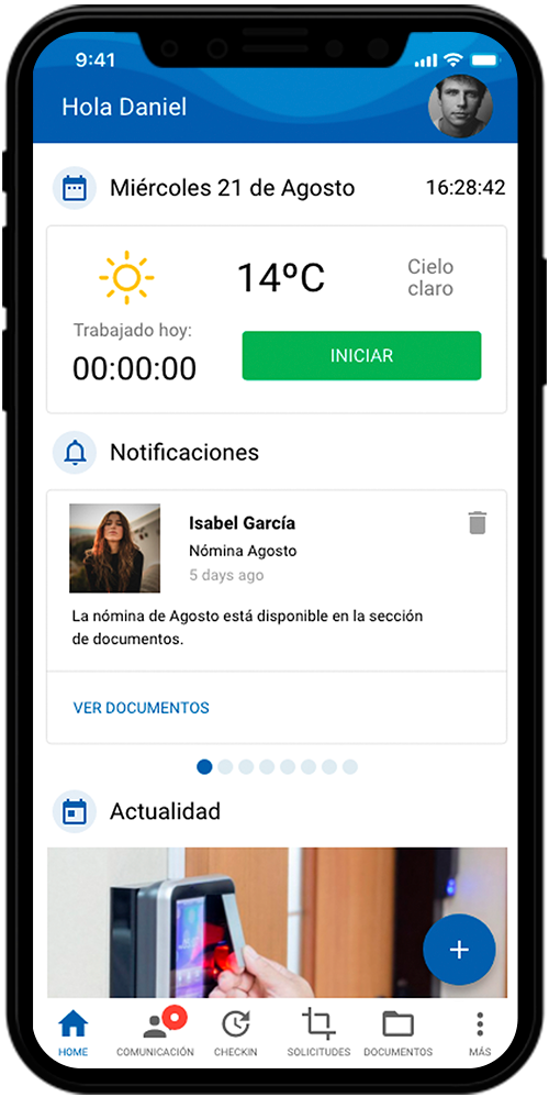 Home de app tweem con check-in fichajes y notificaciones en smartphone